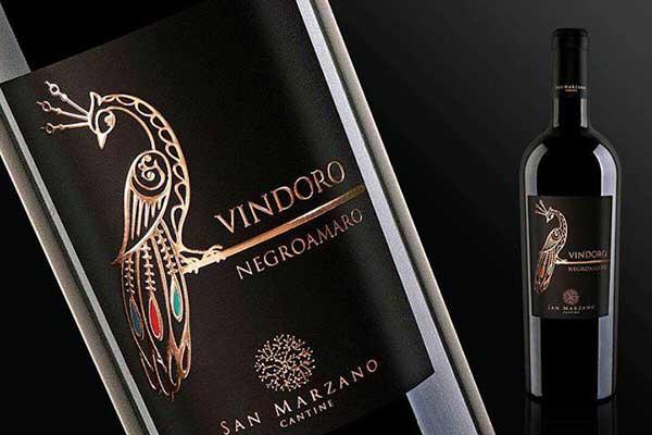 Rượu vang ý Vindoro Negroamaro vang con công