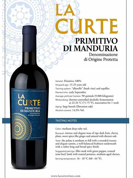 Rượu vang Ý La Curte Primitivo di Manduria