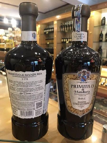 Rượu vang Ý Primitivo Di Manduria chai lùn